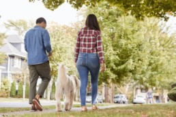 Rear View Of Couple Walking Dog Along Suburban Street